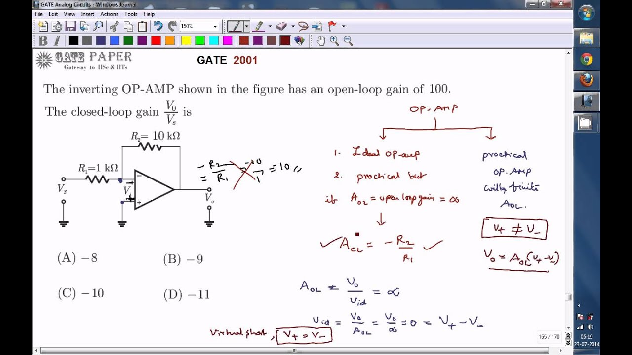 100 Amp Disconnect >> GATE 2001 ECE Gain of practical inverting mode OP AMP with ...