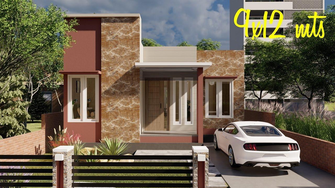 Plano de casa de 3 dormitorios y 2 baños | Plano de casa de 9x12 metros