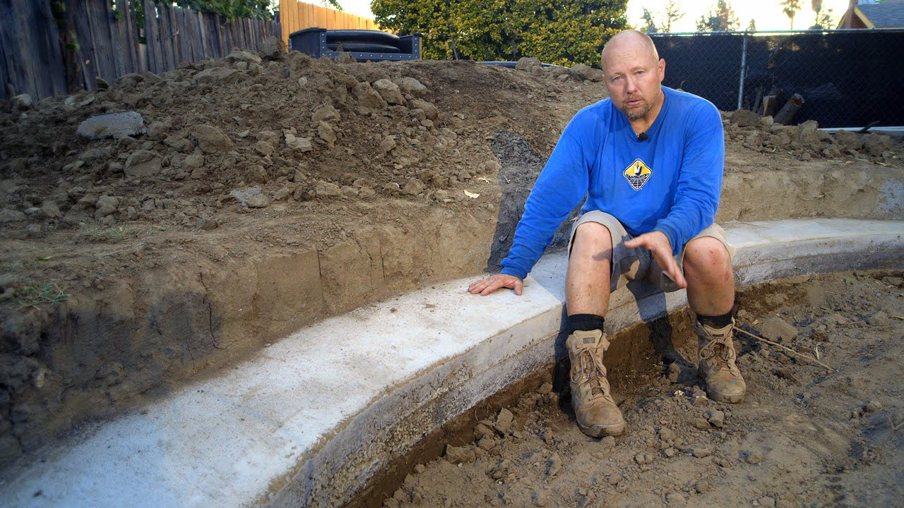 Diy koi pond construction pond excavation part 7 youtube for Concrete koi pond construction