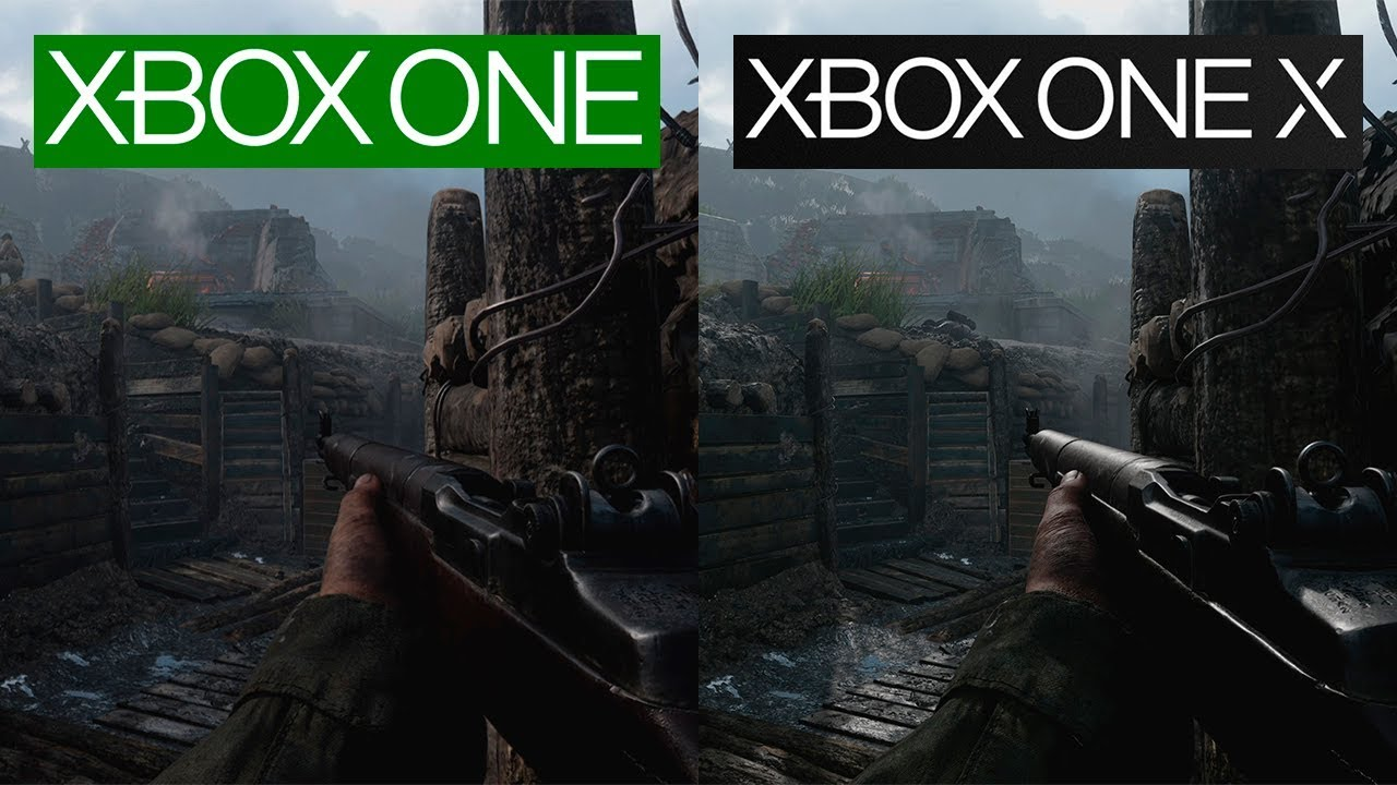call of duty wwii xbox one vs xbox one x 4k graphics. Black Bedroom Furniture Sets. Home Design Ideas