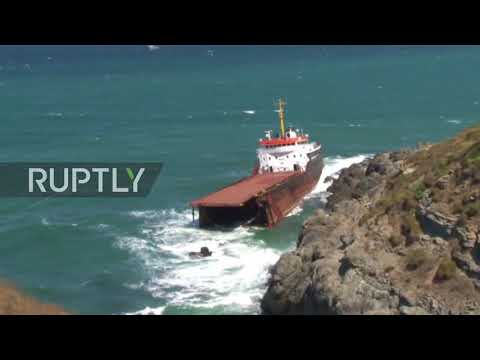 Turkey: Cargo ship splits in two off Istanbul's Kilyos coast