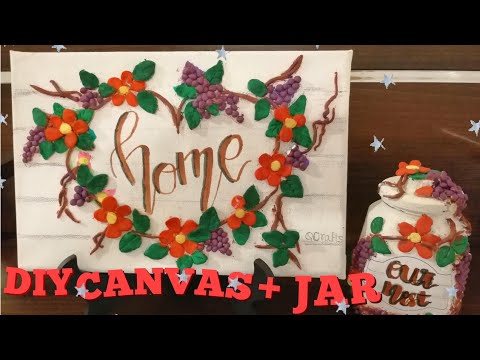 DIY Modelling Clay on Canvas and Glass Jar