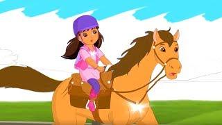 Раскрашиваем Даша Путешественница скачет на лошади Волшебная Раскраска мультик