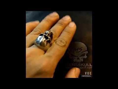 Scar skull ring 925 silver mens rings SSJ140 - MENSSKULL