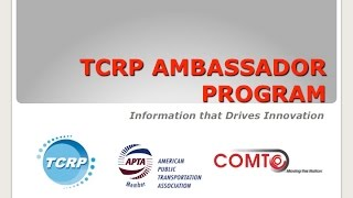 TCRP Webinar, held on April 2nd, 2015
