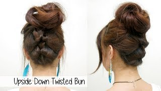 Upside Down Twisted Bun l Quick Cute & Easy Hairstyle