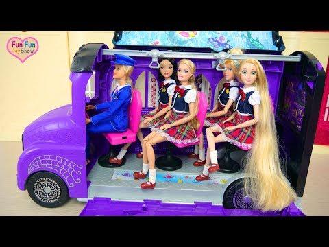 Monster High School Bus For Barbie doll& Disney Princesses Bus sekolah boneka Barbie Ônibus escolar