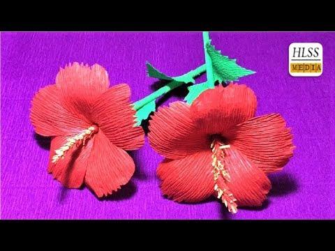 Com fer hibiscus paper flor| Super fàcil de fer hibiscus flor amb crêpe de paper
