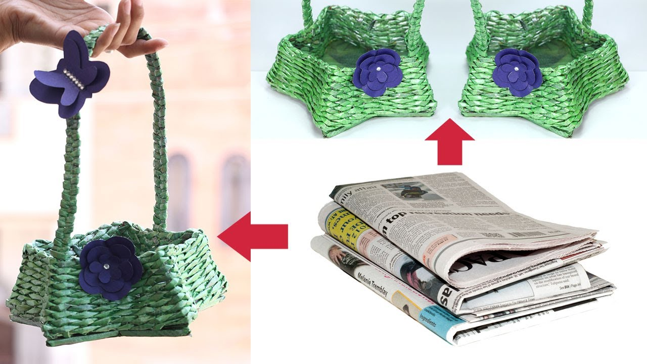 How to make newspaper basket with handle waste material for Craft ideas using waste materials