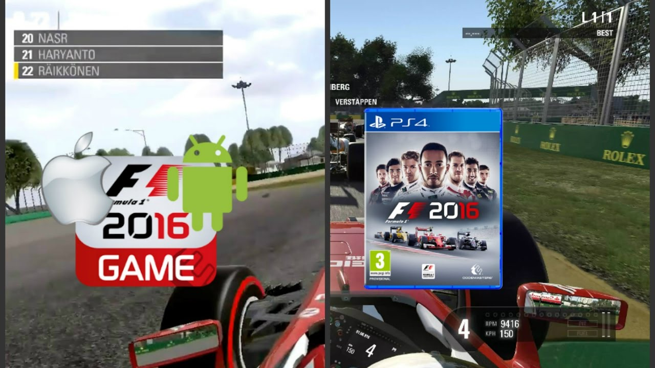 f1 2016 mobile android ios vs ps4 graphics comparison. Black Bedroom Furniture Sets. Home Design Ideas