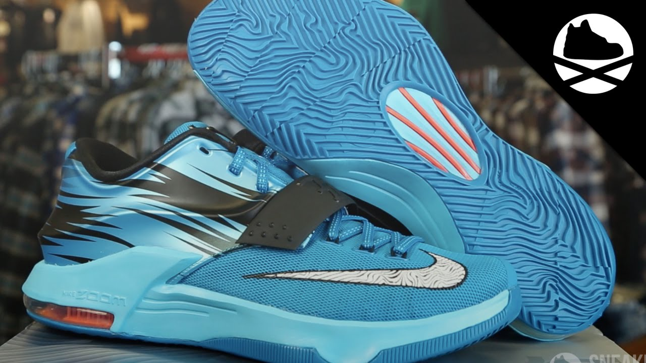 2015 New Nike KD 7 Light Blue Lacquer White Clearwater Total Ora