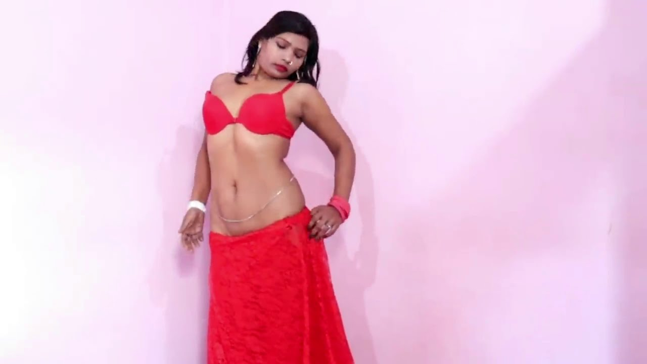 Download how to wear Ultra Low Waist red colour Saree Without Blouse red colour
