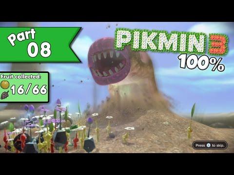 Pikmin 3 100% walkthrough (w/ commentary) - Day 8 - Mettlesome Slug!