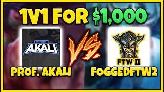 PROFESSOR AKALI VS FOGGEDFTW2! RANK 1 TRYND WORLD VS BEST AKALI (1v1 FOR $1000) - League of Legends