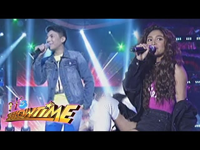 Its's Showtime: Darren Espanto and Nadine Lustre, perform on It's Showtime stage.