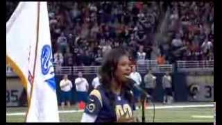 Coco Jones Performing The National Anthem at the St. Louis Rams Game - 11/24/13