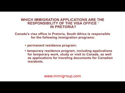Which immigration applications are the responsibility of the visa office in Pretoria?