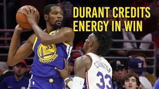 Kevin Durant on how Warriors turned 76ers game around thumbnail