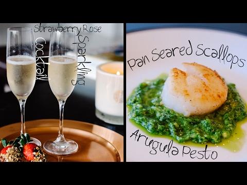 Valentine's Dinner -  Live!!! - Seared Scallops, Pesto & Sparkling Cocktails