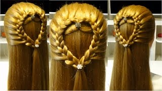 Прическа сердце из волос  Очень легкая прическа в школу