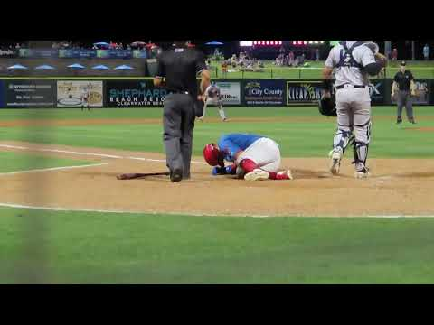 Jhailyn Ortiz Gets Pegged In The Head With A Pitch. He Was Ok But No Warning Given
