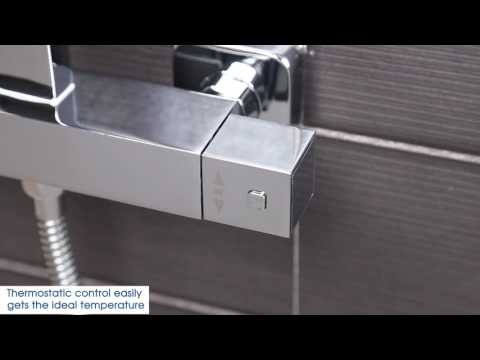 Architeckt Square Thermostatic Shower Valve & Square Riser System Complete - Plumbworld
