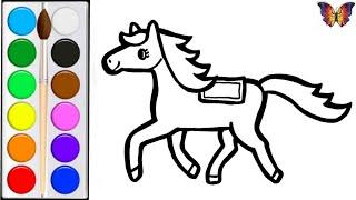 Как нарисовать ЛОШАДКУ /  раскраска ЛОШАДКА  для детей / Раскраски малышам