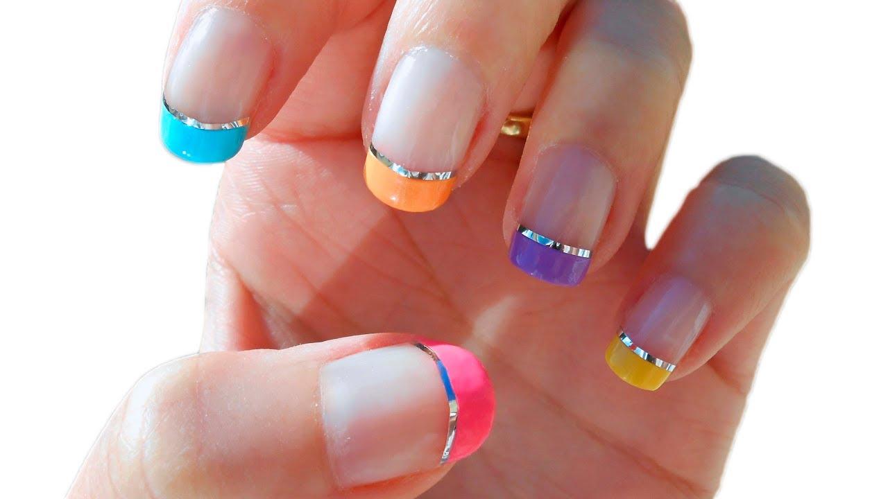 Manicura francesa de colores con nail tape cristinails - Manicura francesa colores ...