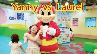 Bug Interviews Kids at Kidzoona Indoor Playground !!! Yanny and Laurel Challenge