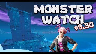 FORTNITE - MONSTER WATCH LIVE - UPDATE v9.30 OUT NOW - MONSTER DESTROYED LOOT LAKE AND CABLE