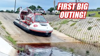 Taking my GIANT Hovercraft on a RIVER ADVENTURE!!! Tore the Skirt, Ran Out of Gas, & More!