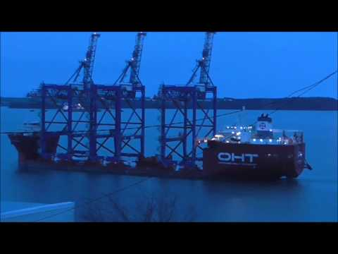 Container Cranes departing Cork Harbour by ship for Puerto Rico
