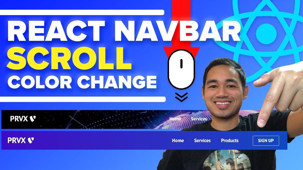 React Navbar Change Background Color on Scroll - React JS Website Tutorial