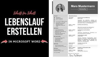 Professioneller Lebenslauf schreiben [tabellarisch, modern, kreativ] in Word - Tutorial