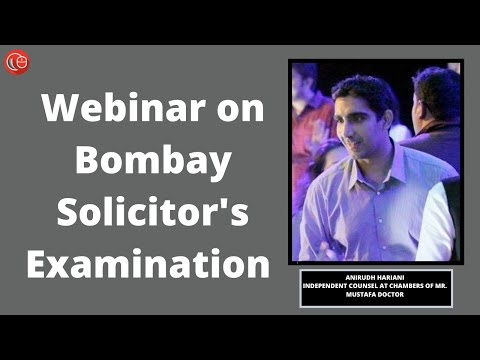 Webinar with Anirudh Hariani on Bombay Solicitor's Examination