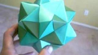 Sonobe Small Triambic Icosahedron (3 Shades of Green) (Modular Origami)