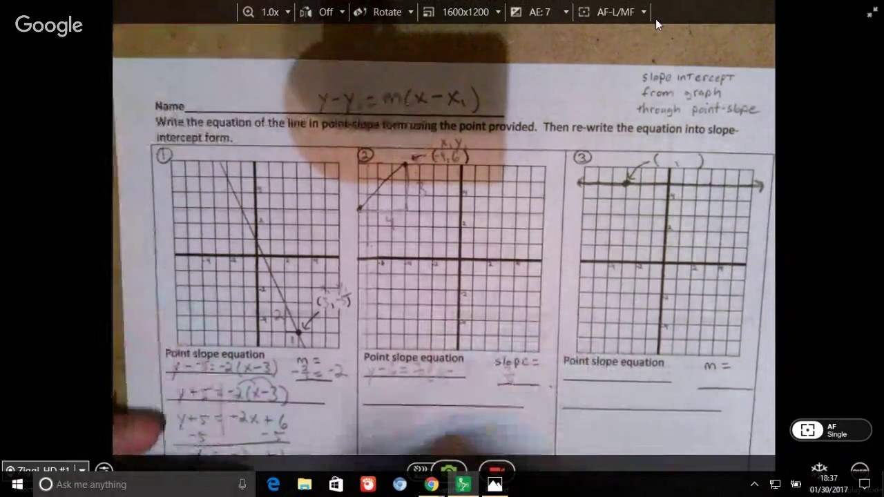 Unit 6 Slope Intercept From Graph Through Point Slope Youtube