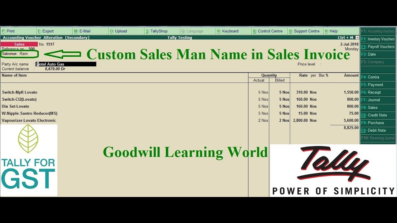 tally tdl for sales man name in sales register in tally erp 9 tally rh youtube com TDL Window Systems Disney TDL