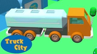 Tank Truck: construction swimming pool & giant slide | Truck City | Construction games for children