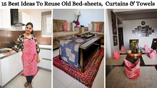 15 Best Ideas To Reuse Old Bed-sheets, Curtains & Towels - Best out of waste