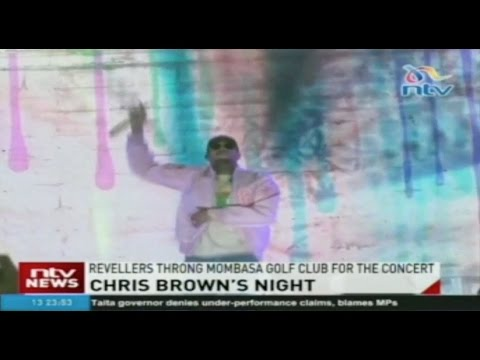 American hip hop and RnB star Chris Brown performs in Mombasa