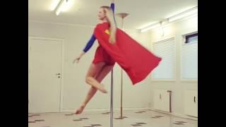 Girl Wearing Superhero Costume Dances