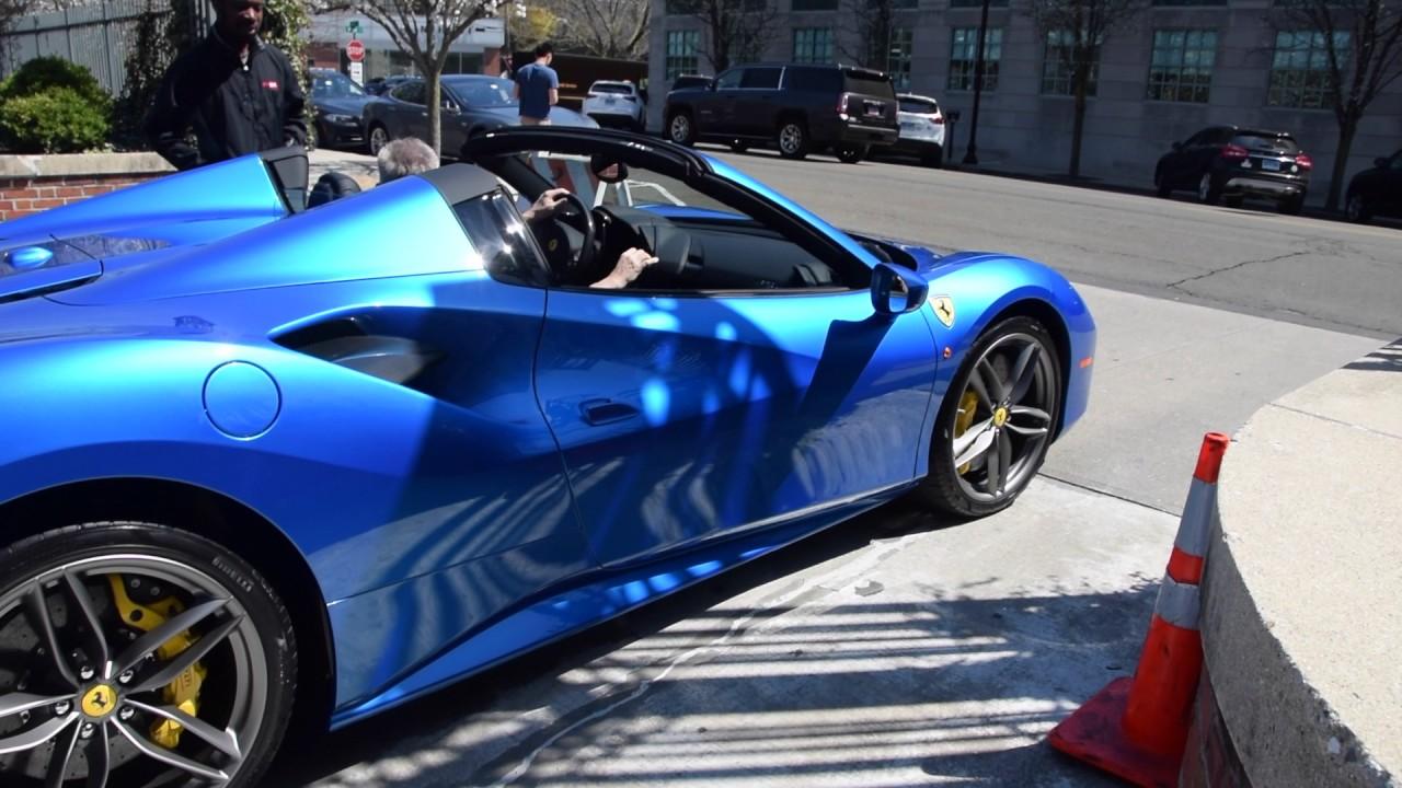 Blu Corsa Ferrari 488 Spider Startup Driving Youtube