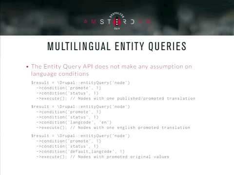 DrupalCon Amsterdam 2014: Multilingual Content in D8: a Highly Evolved Permutated API