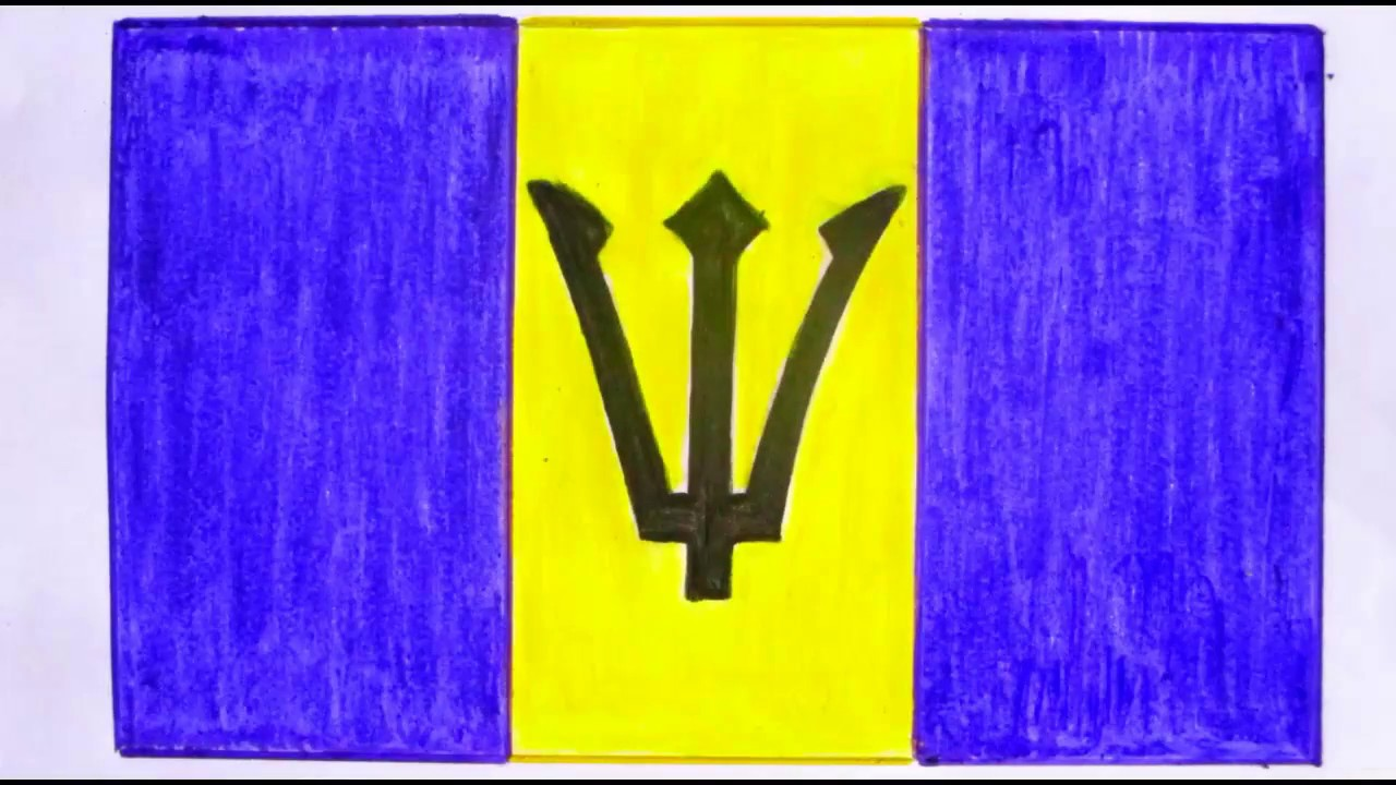 How To Draw Barbados Flag Youtube