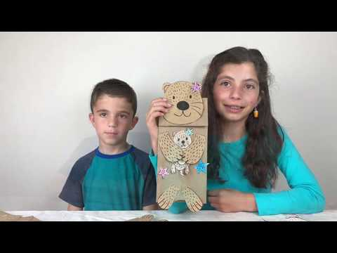 Paper Bag Sea Otter Puppets Craft for Kids
