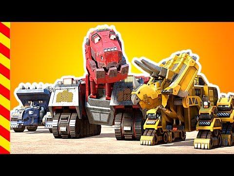 Динозавры роботы. машинки мультики. Динозавр мультик. Про трактор, Грузовик для детей, Экскаватор.