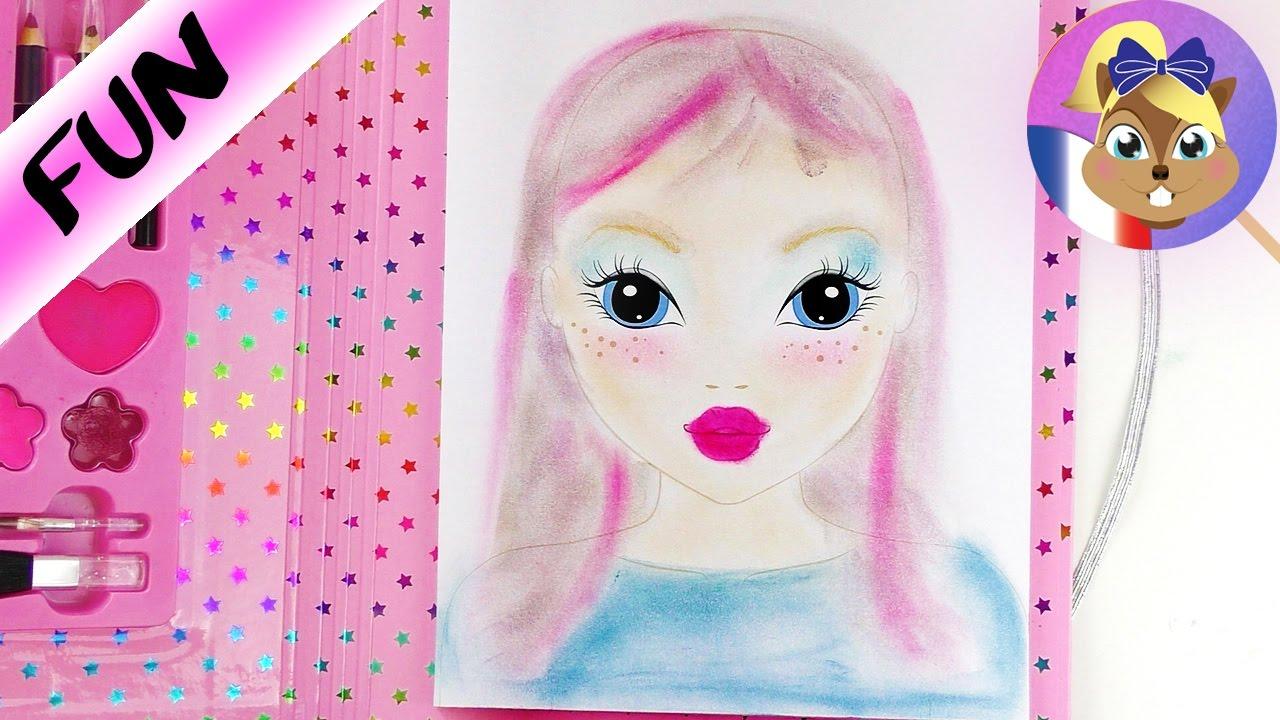 Cahier de dessin topmodel maquillage avec les doigts colorier dans le cahier topmodel youtube - Photo de dessin top model ...
