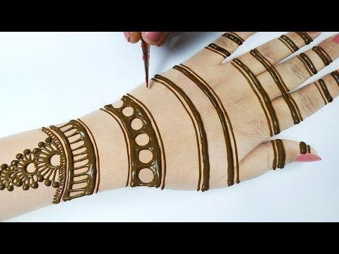लाइन ट्रिक से मेहँदी लगाना सीखे - Step by Step Mehndi Design on Hands - Mehndi for Beginners