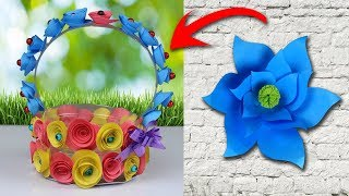 DIY Projects Made With Plastic Bottle Including Paper Crafts - Paper Flower Basket - SoAm Crafts